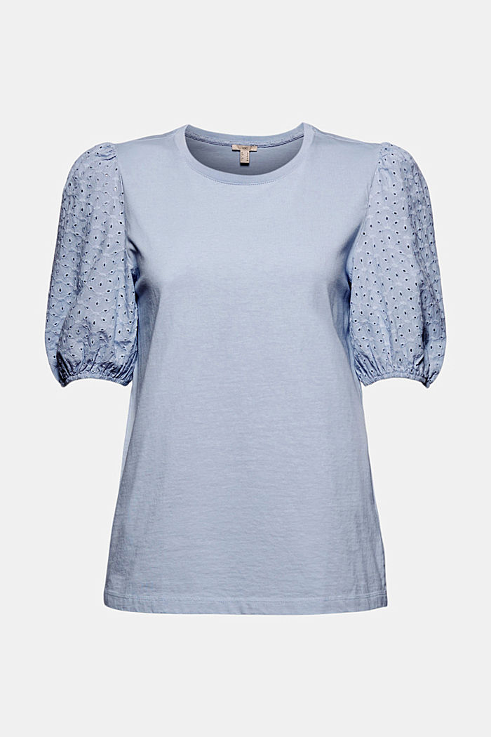 T-shirt with broderie anglaise, organic cotton, LIGHT BLUE LAVENDER, detail image number 5