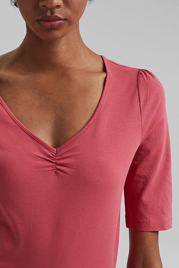Basic T-shirt with gathering, organic cotton, BLUSH, detail image number 2