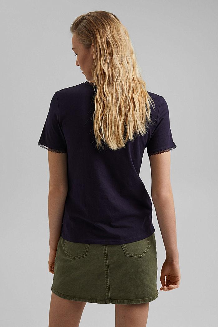 T-shirt med blonder, 100% økologisk bomuld, NAVY, detail image number 3