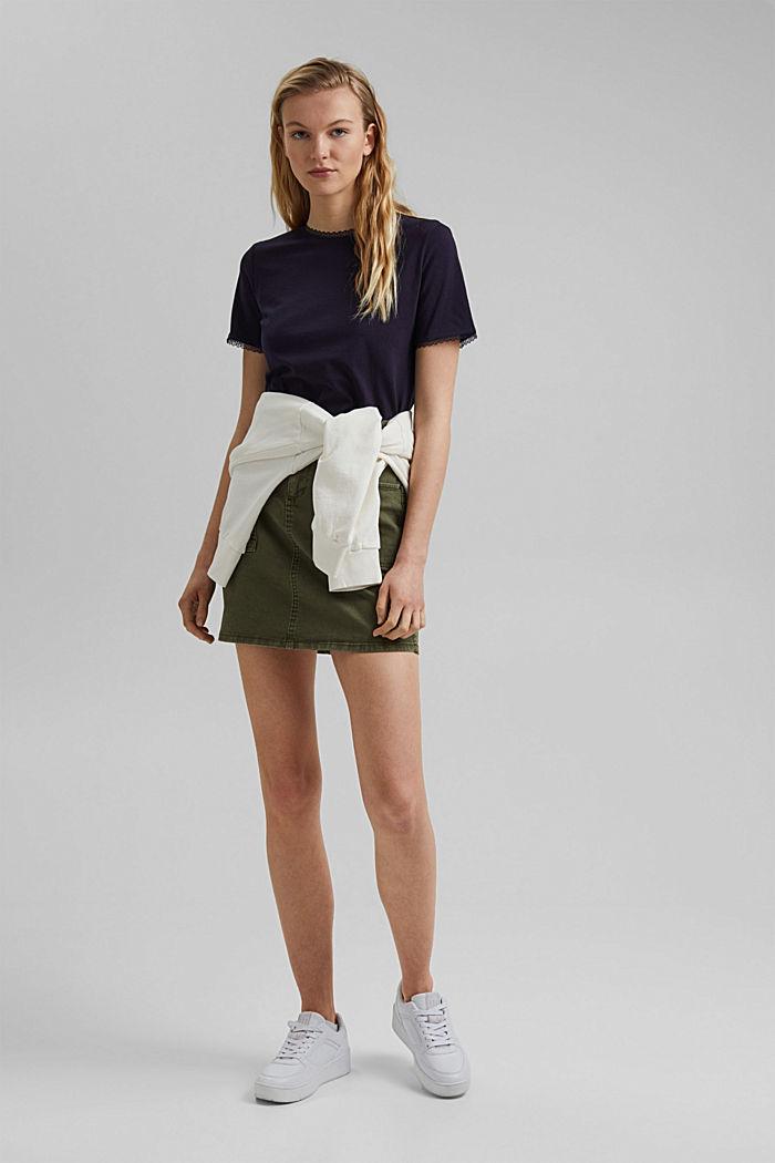 T-shirt med blonder, 100% økologisk bomuld, NAVY, detail image number 1