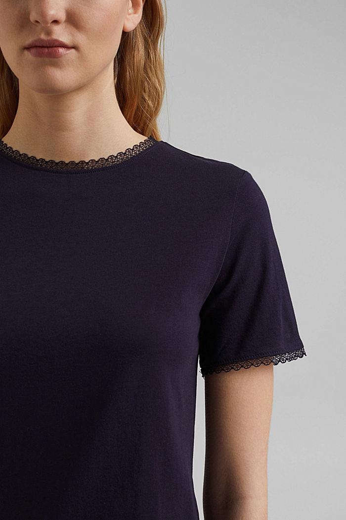 T-shirt med blonder, 100% økologisk bomuld, NAVY, detail image number 2
