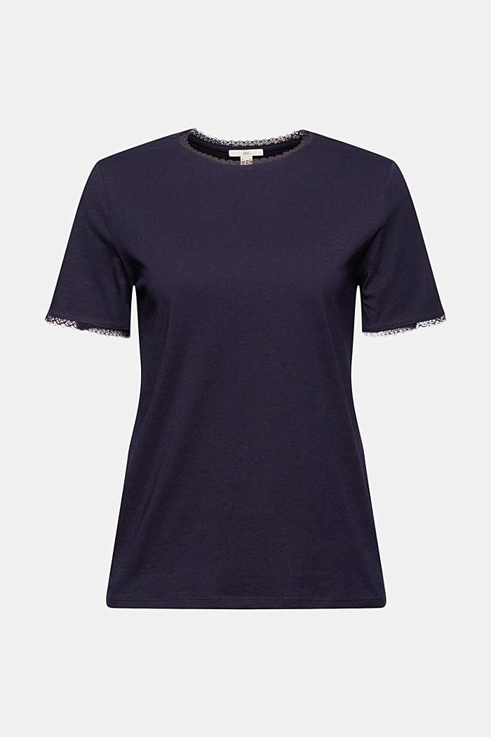 T-shirt med blonder, 100% økologisk bomuld, NAVY, detail image number 6