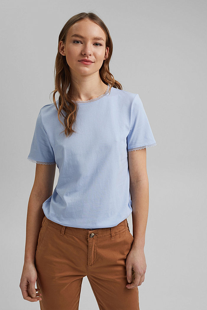 T-shirt with lace, 100% organic cotton, LIGHT BLUE LAVENDER, detail image number 0