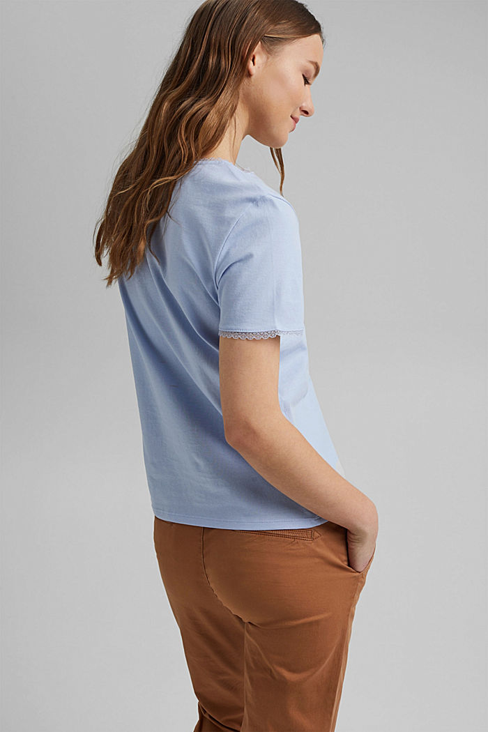 T-shirt with lace, 100% organic cotton, LIGHT BLUE LAVENDER, detail image number 3