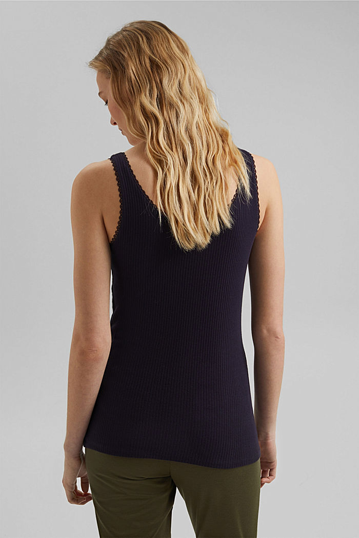 Ribbed sleeveless top with lace, NAVY, detail image number 3