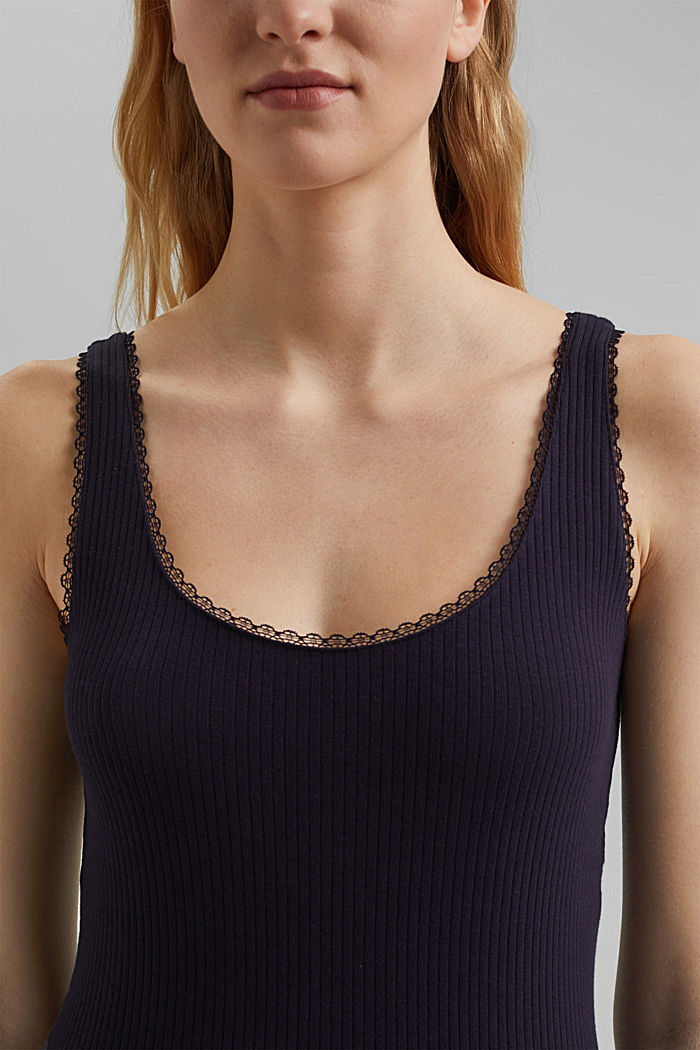 Ribbed sleeveless top with lace, NAVY, detail image number 2
