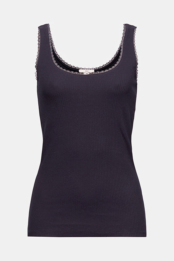 Ribbed sleeveless top with lace, NAVY, detail image number 5