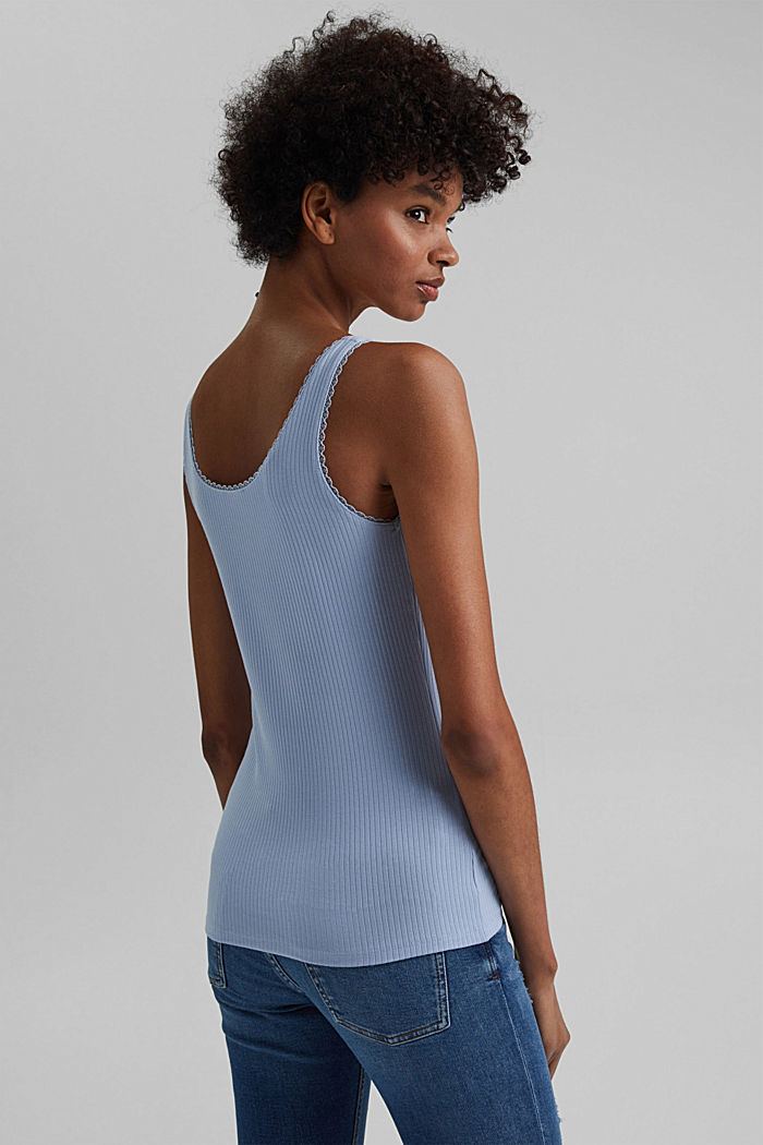 Ribbed sleeveless top with lace, LIGHT BLUE LAVENDER, detail image number 3