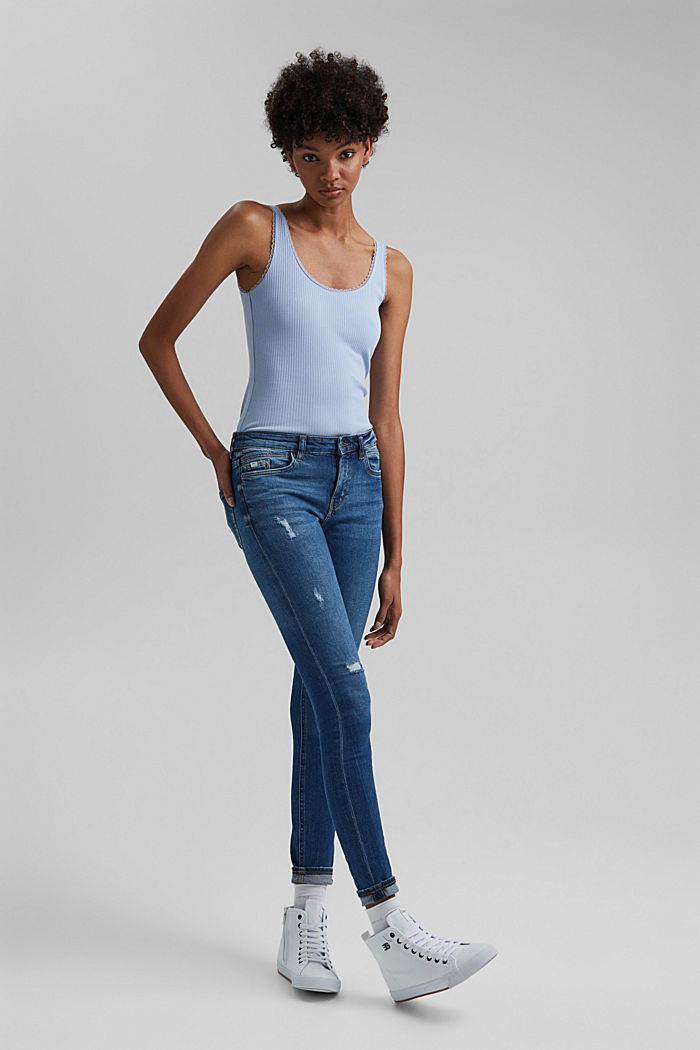 Ribbed sleeveless top with lace, LIGHT BLUE LAVENDER, detail image number 5