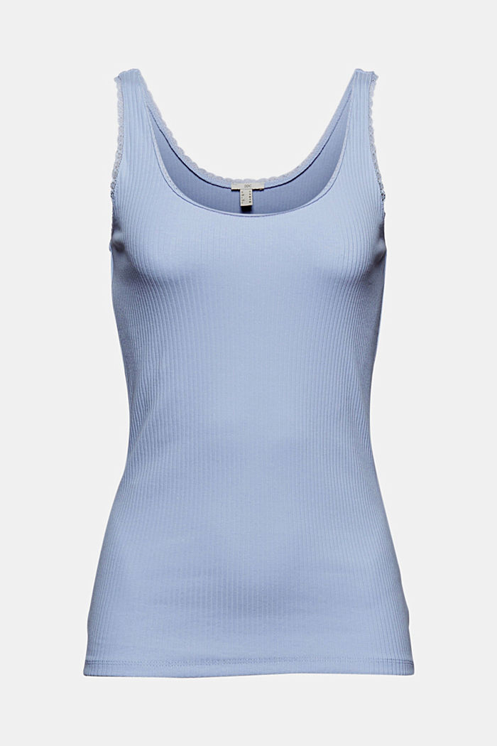 Ribbed sleeveless top with lace, LIGHT BLUE LAVENDER, detail image number 6