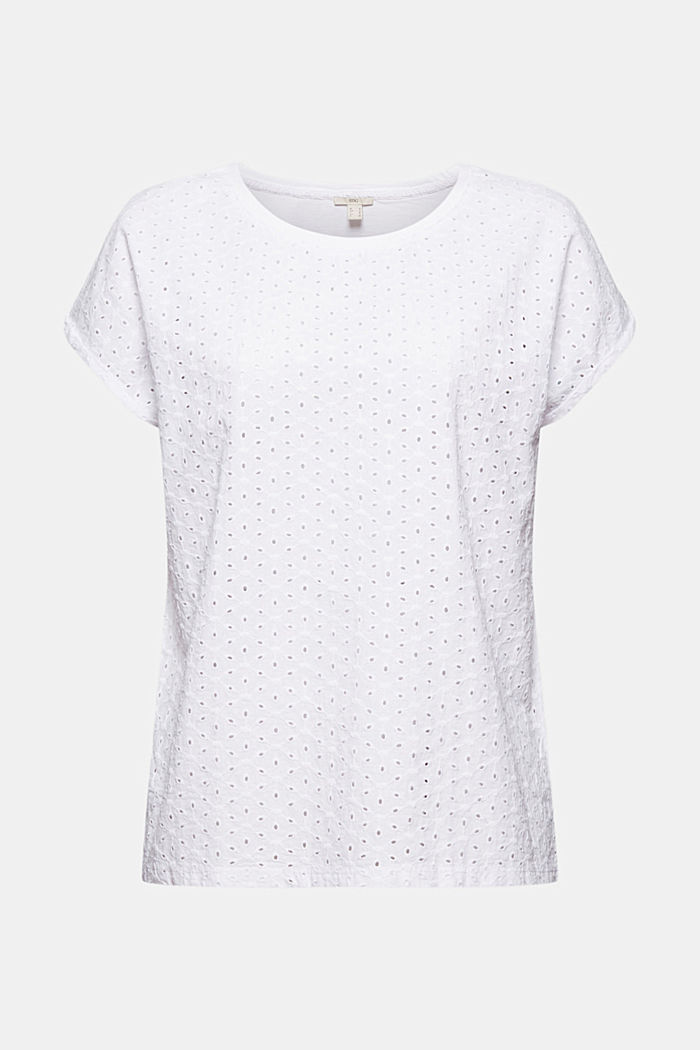 Shirt mit Broderie Anglaise, Organic Cotton, WHITE, overview