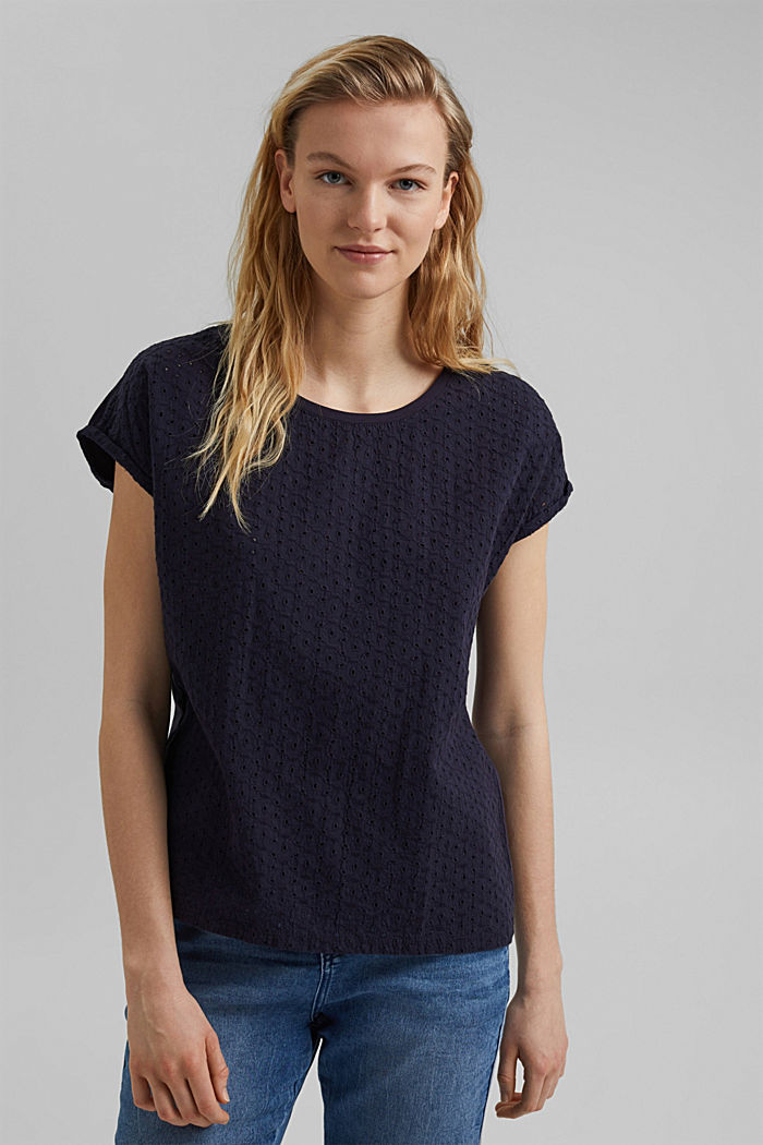 Broderie anglaise trim top, organic cotton, NAVY, detail image number 0