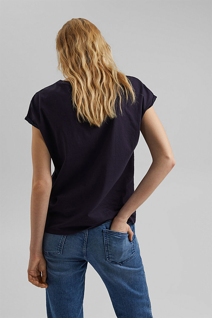 Broderie anglaise trim top, organic cotton, NAVY, detail image number 3
