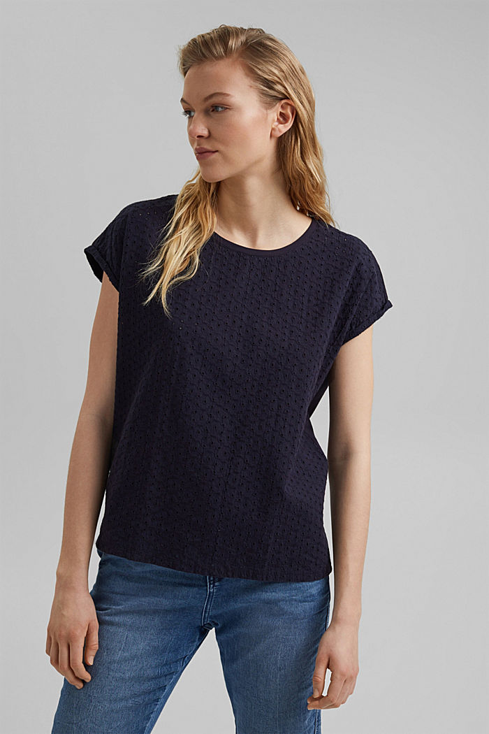 Broderie anglaise trim top, organic cotton, NAVY, detail image number 5