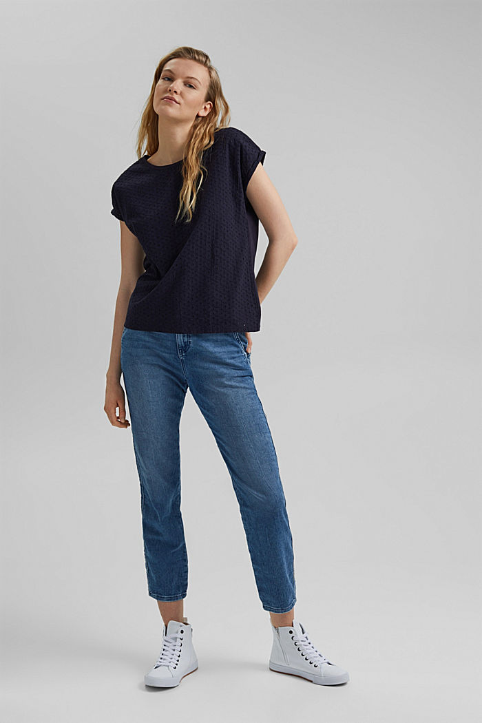 Broderie anglaise trim top, organic cotton, NAVY, detail image number 1