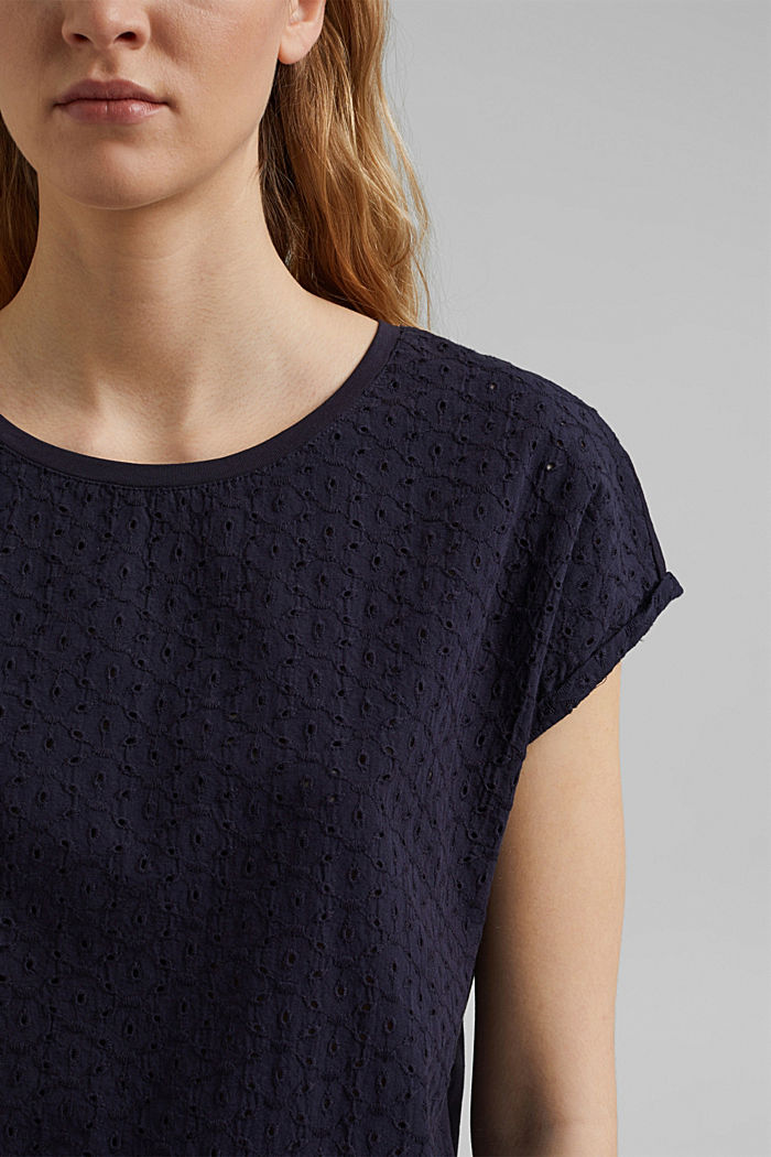 Broderie anglaise trim top, organic cotton, NAVY, detail image number 2