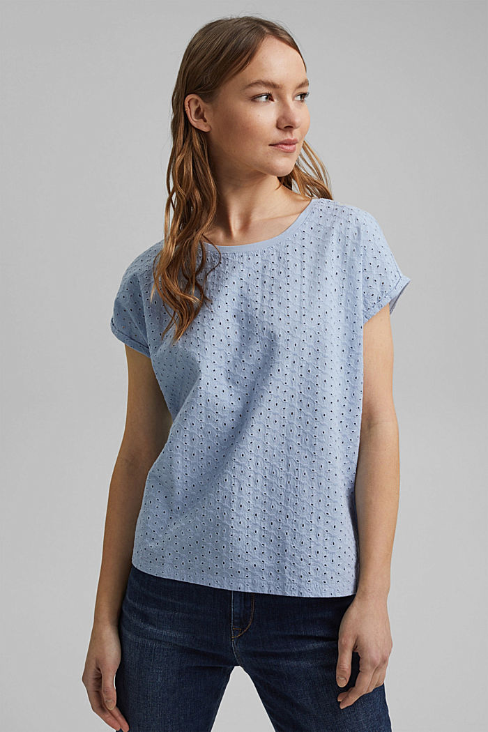 Broderie anglaise trim top, organic cotton, LIGHT BLUE LAVENDER, detail image number 0