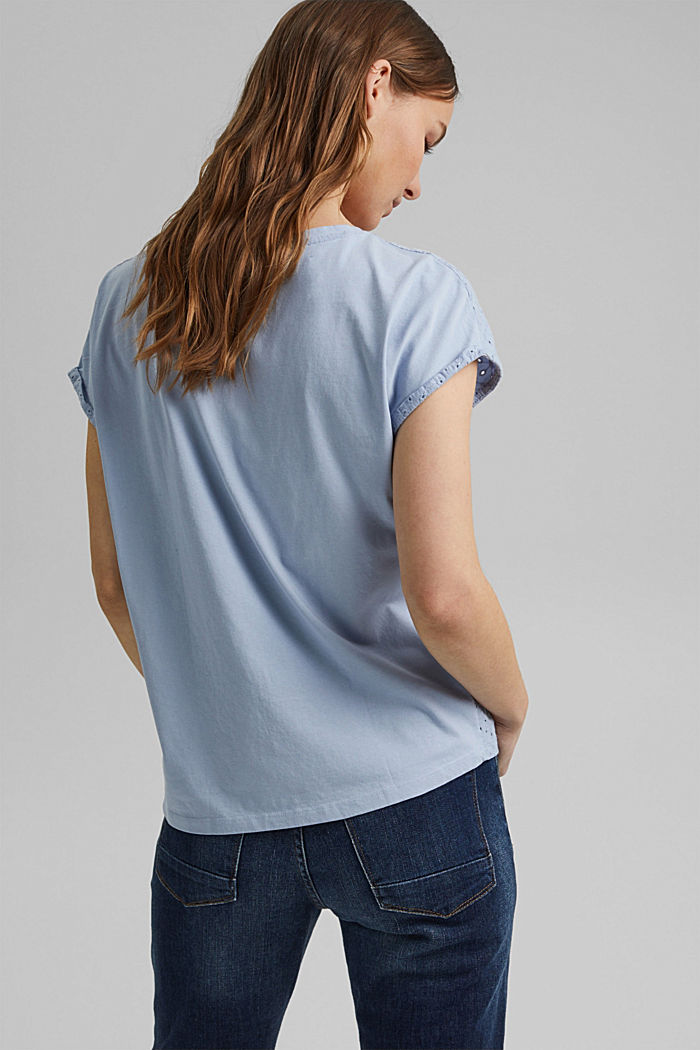 Broderie anglaise trim top, organic cotton, LIGHT BLUE LAVENDER, detail image number 3