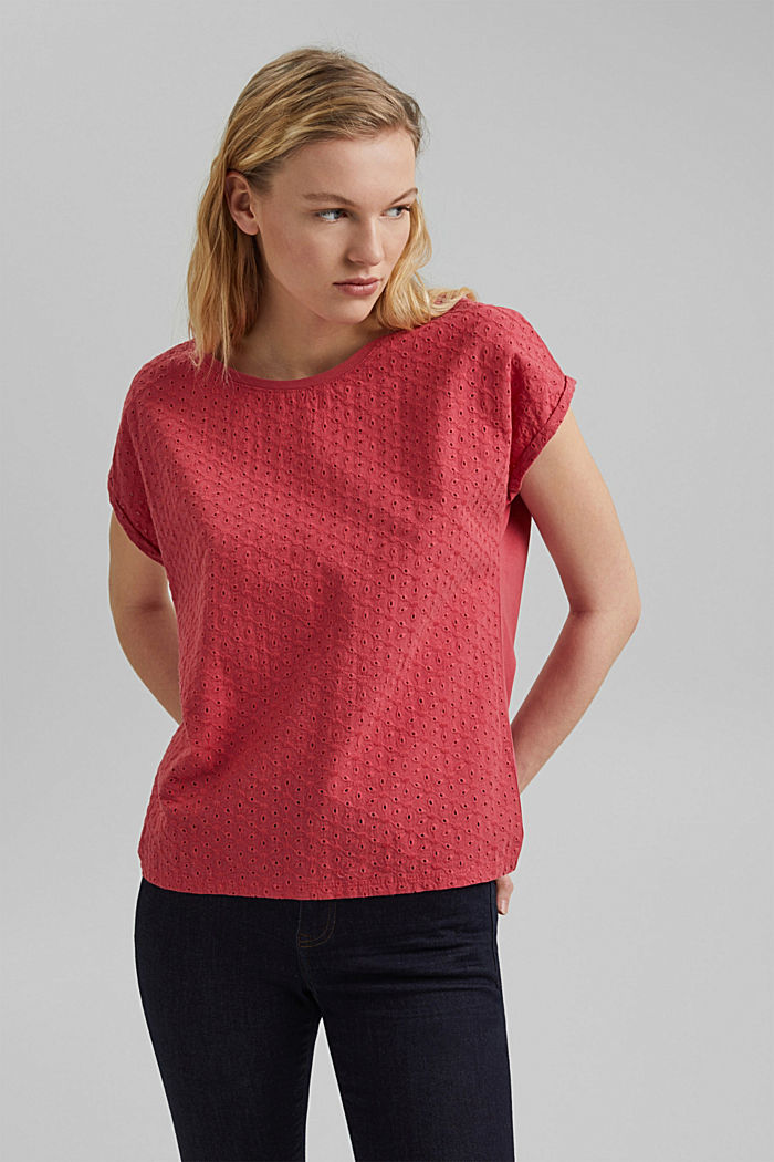 Shirt mit Broderie Anglaise, Organic Cotton, BLUSH, detail image number 0
