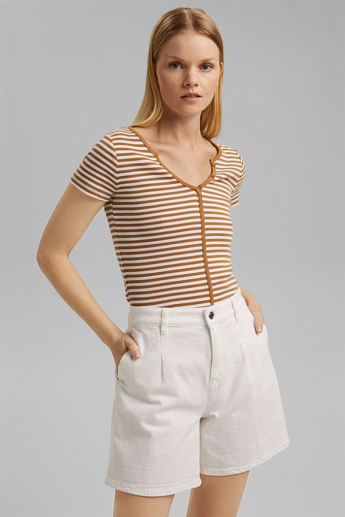 Ribbed T-shirt with a cup collar, CARAMEL, detail image number 0