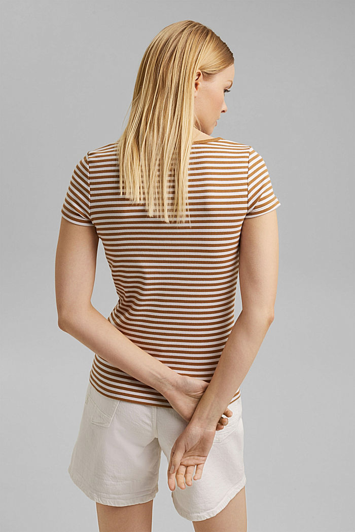 Ribbed T-shirt with a cup collar, CARAMEL, detail image number 3