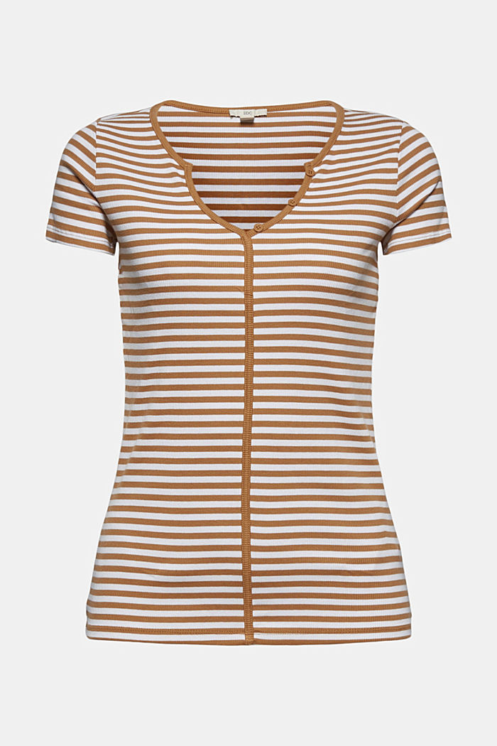 Ribbed T-shirt with a cup collar, CARAMEL, detail image number 5