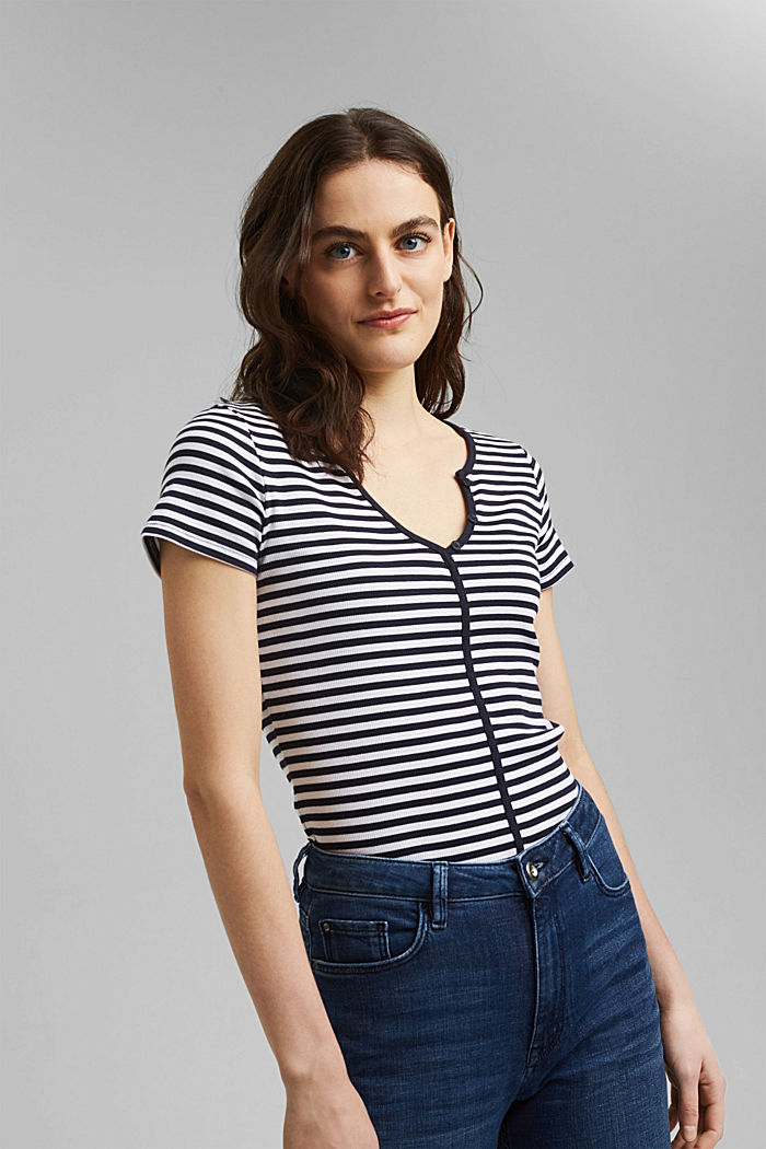 Ribbed T-shirt with a cup collar, NAVY, detail image number 0