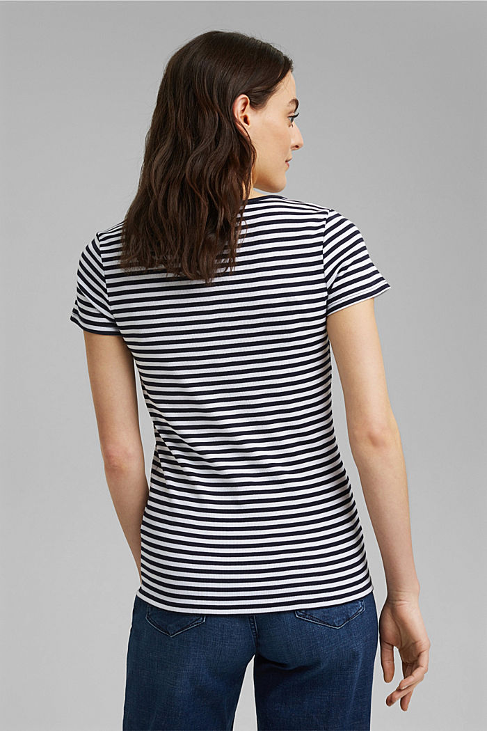 Ribbed T-shirt with a cup collar, NAVY, detail image number 3