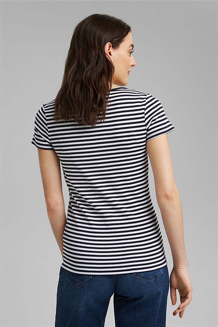 Geripptes T-Shirt mit Kelchkragen, NAVY, detail image number 3