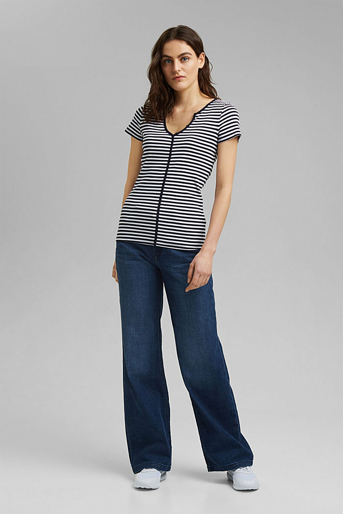 Ribbed T-shirt with a cup collar, NAVY, detail image number 1
