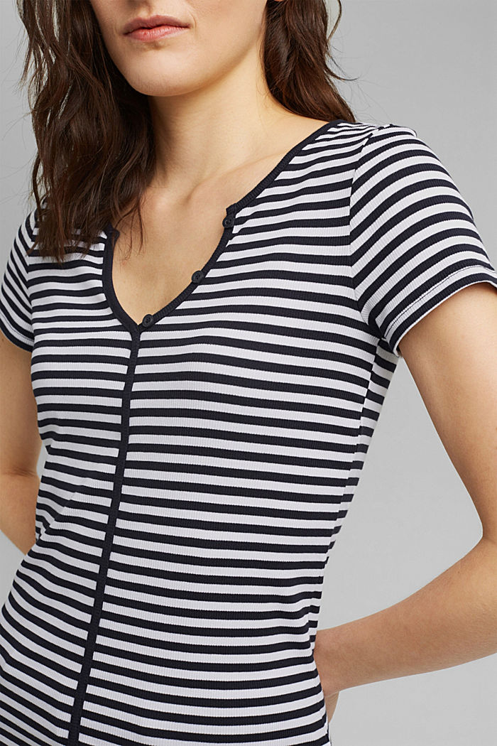 Ribbed T-shirt with a cup collar, NAVY, detail image number 2
