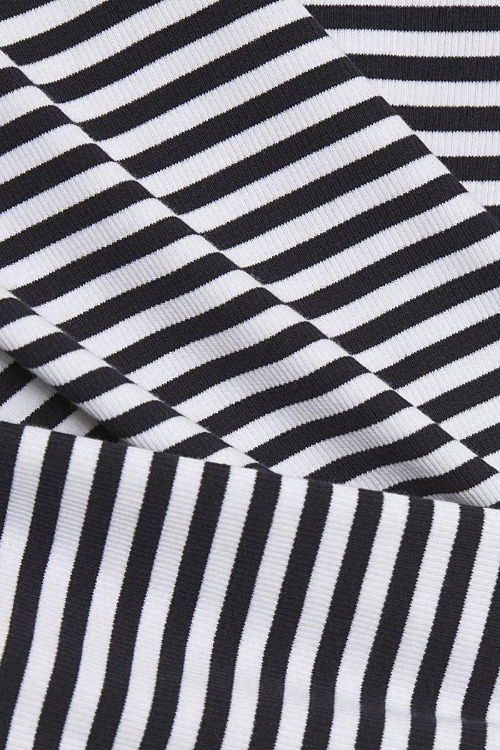 Geripptes T-Shirt mit Kelchkragen, NAVY, detail image number 4