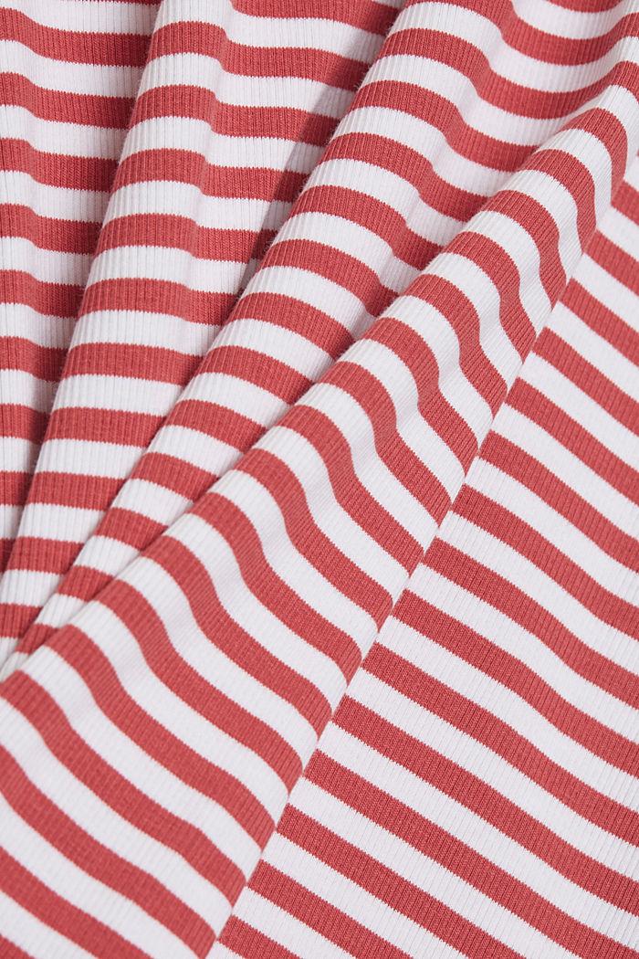 Geripptes T-Shirt mit Kelchkragen, BLUSH, detail image number 4