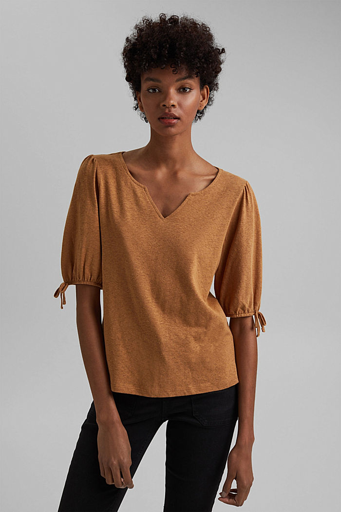 With linen: T-shirt with balloon sleeves, CARAMEL, overview