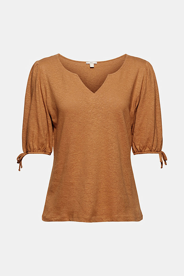 With linen: T-shirt with balloon sleeves, CARAMEL, detail image number 6