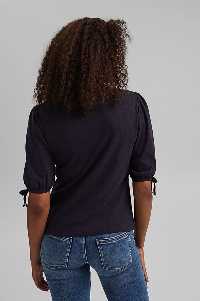 With linen: T-shirt with balloon sleeves, NAVY, detail image number 3