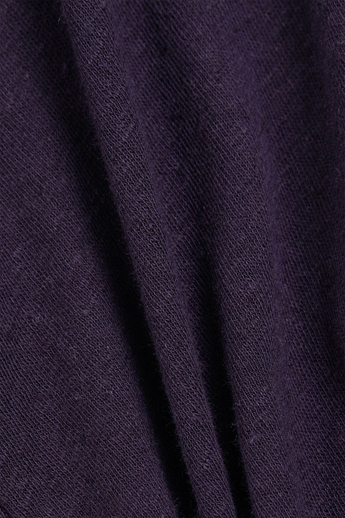 With linen: T-shirt with balloon sleeves, NAVY, detail image number 4