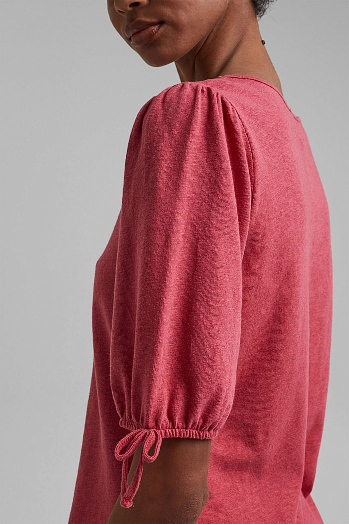 With linen: T-shirt with balloon sleeves, BLUSH, detail image number 2