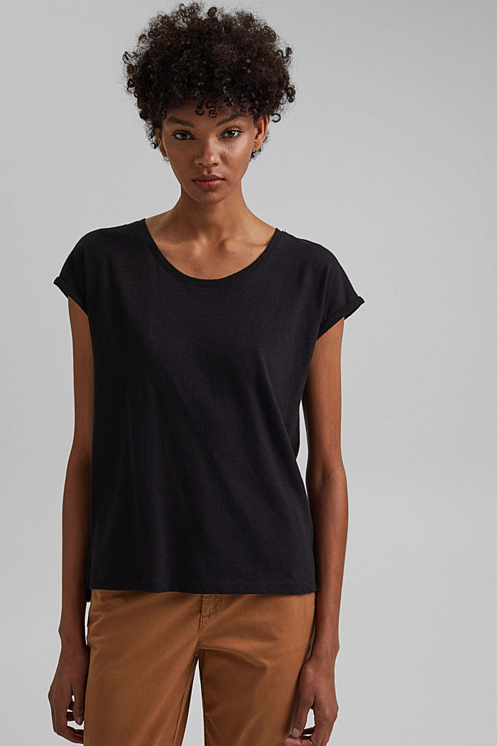 Containing linen: blended cotton T-shirt, BLACK, detail image number 0