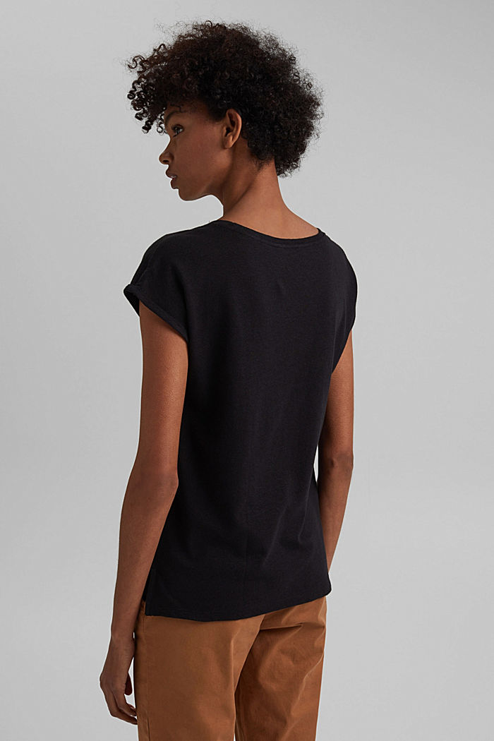 Containing linen: blended cotton T-shirt, BLACK, detail image number 3
