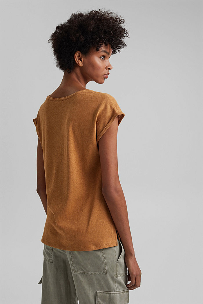 Containing linen: blended cotton T-shirt, CARAMEL, detail image number 3