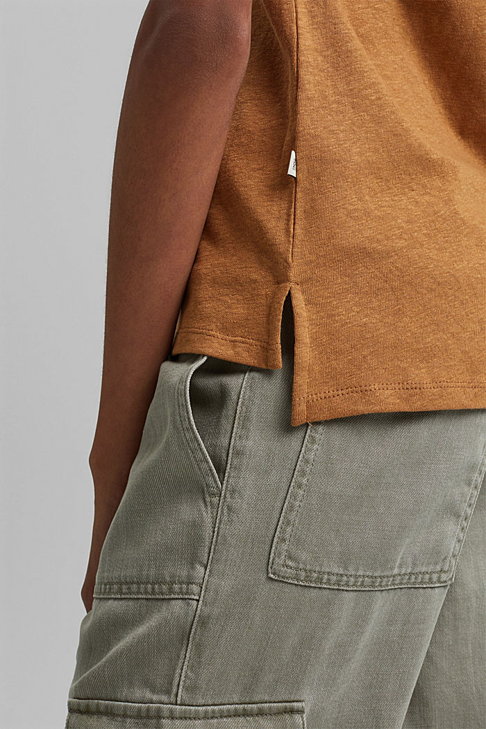 Containing linen: blended cotton T-shirt, CARAMEL, detail image number 2