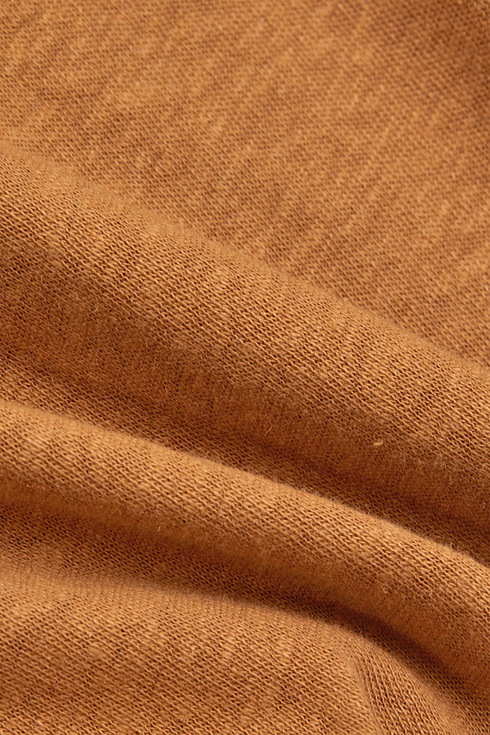 Containing linen: blended cotton T-shirt, CARAMEL, detail image number 4