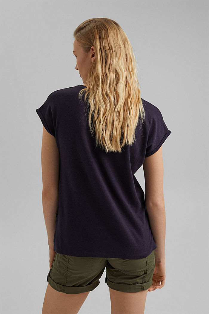 Containing linen: blended cotton T-shirt, NAVY, detail image number 3