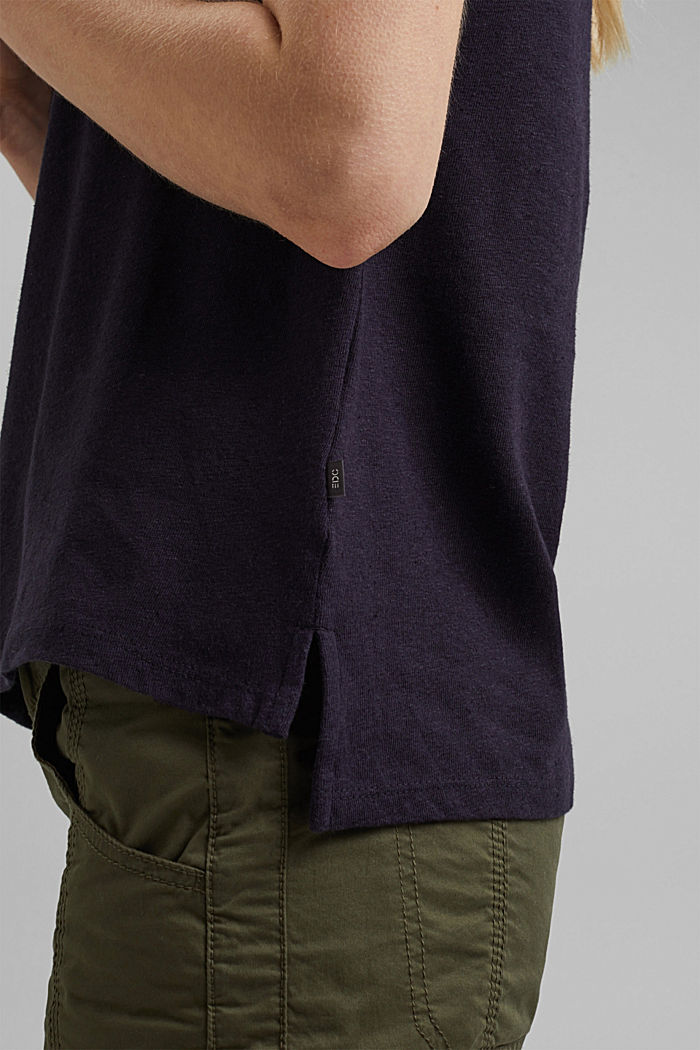 Containing linen: blended cotton T-shirt, NAVY, detail image number 2