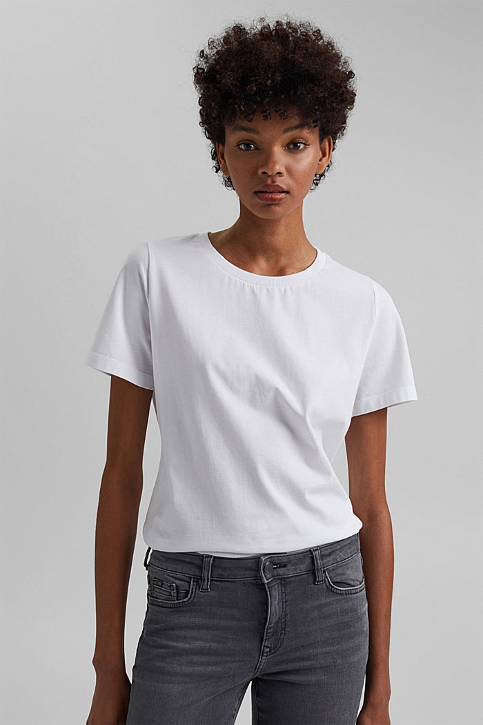 Basic T-Shirt aus 100% Organic Cotton, WHITE, detail image number 0