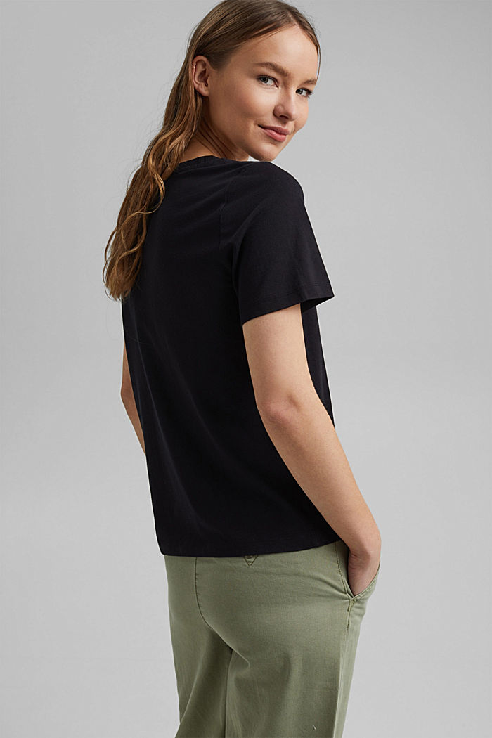 V-Neck-T-Shirt aus 100% Bio-Baumwolle, BLACK, detail image number 3