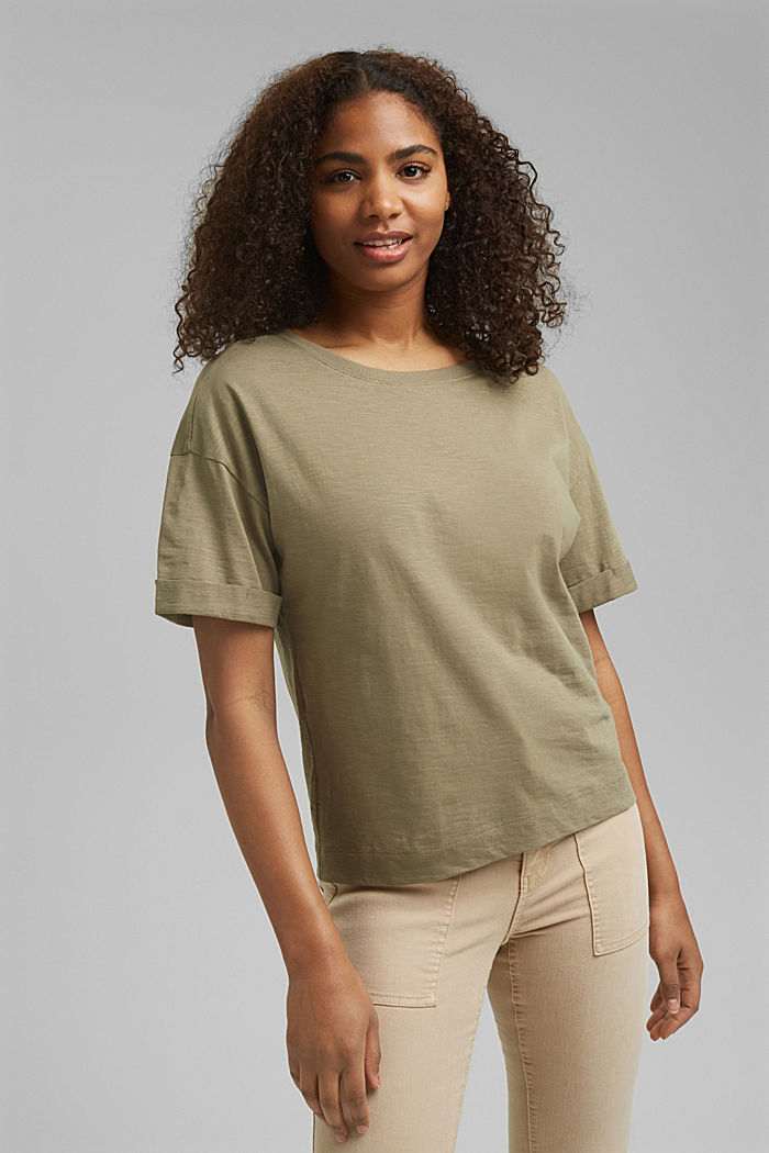 Basic T-shirt made of 100% organic cotton, LIGHT KHAKI, detail image number 0