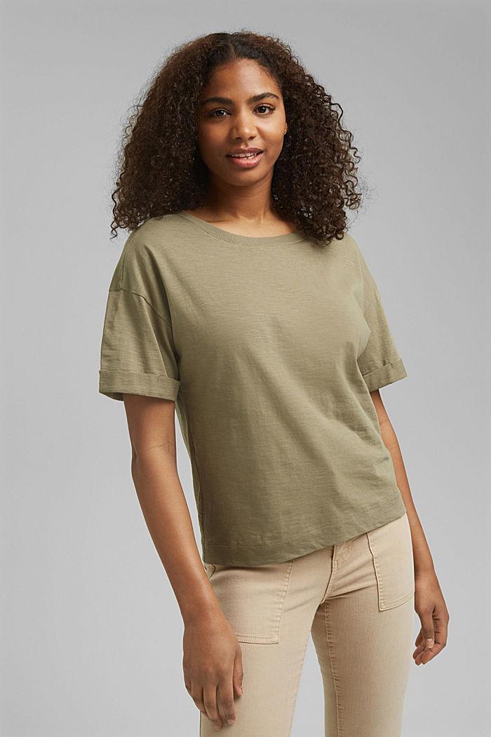 Basic T-Shirt aus 100% Organic Cotton, LIGHT KHAKI, detail image number 0
