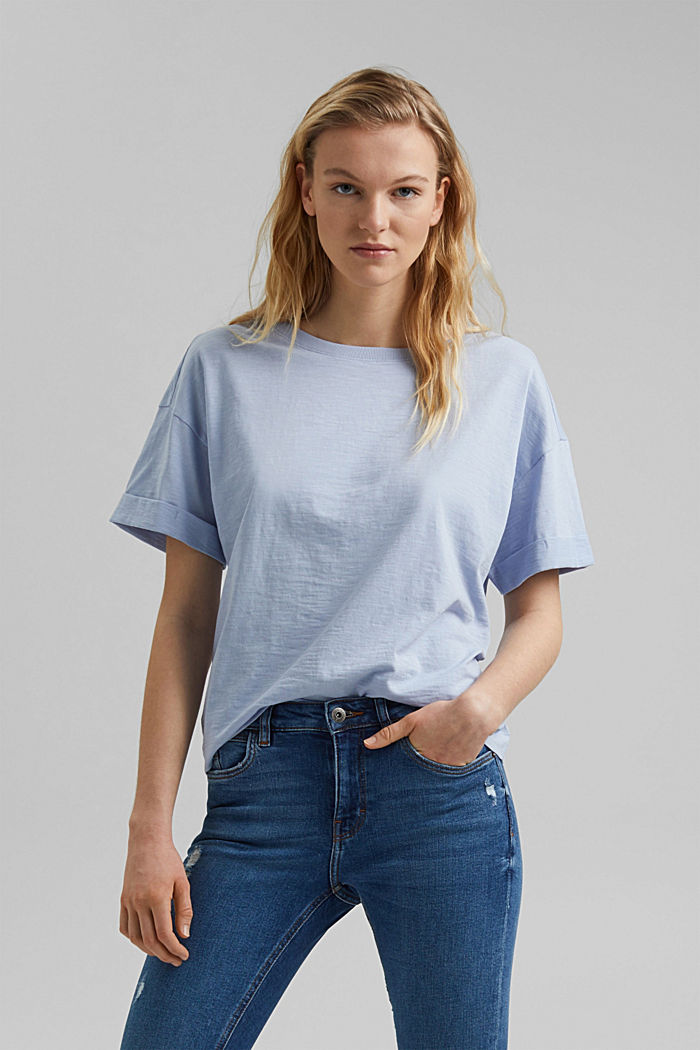 Basic T-shirt made of 100% organic cotton, LIGHT BLUE LAVENDER, overview